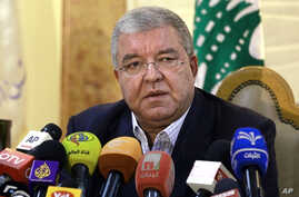Lebanese Interior Minister Nohad Machnouk holds a press conference at the police headquarters in Beirut, Nov. 15, 2015.