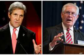 FILE - U.S. Secretary of State John Kerry, right, is shown Berlin, Dec. 5, 2016; Rex Tillerson, President-elect Donald Trump's secretary of state nominee, is pictured in Washington, March 27, 2015, in this composite photo.