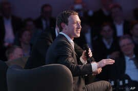 Facebook CEO Mark Zuckerberg speaks during the awarding ceremony of the newly established Axel Springer Award in Berlin, Feb. 25, 2016.
