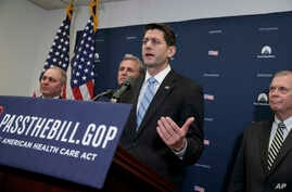 House Speaker Paul Ryan of Wisconsin, joined by, from left, House Majority Whip Steve Scalise, R-La., House Majority Leader Kevin McCarthy of Calif., and Rep. Tim Walberg, R-Mich., chairman of the House Subcommittee on Health, Employment, Labor, and