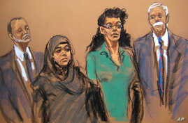 In this courtroom sketch, defendants Noelle Velentzas, center left, and Asia Siddiqui appear in federal court with their attorneys, April 2, 2015, in New York. The two were arrested on charges they plotted to wage violent jihad.