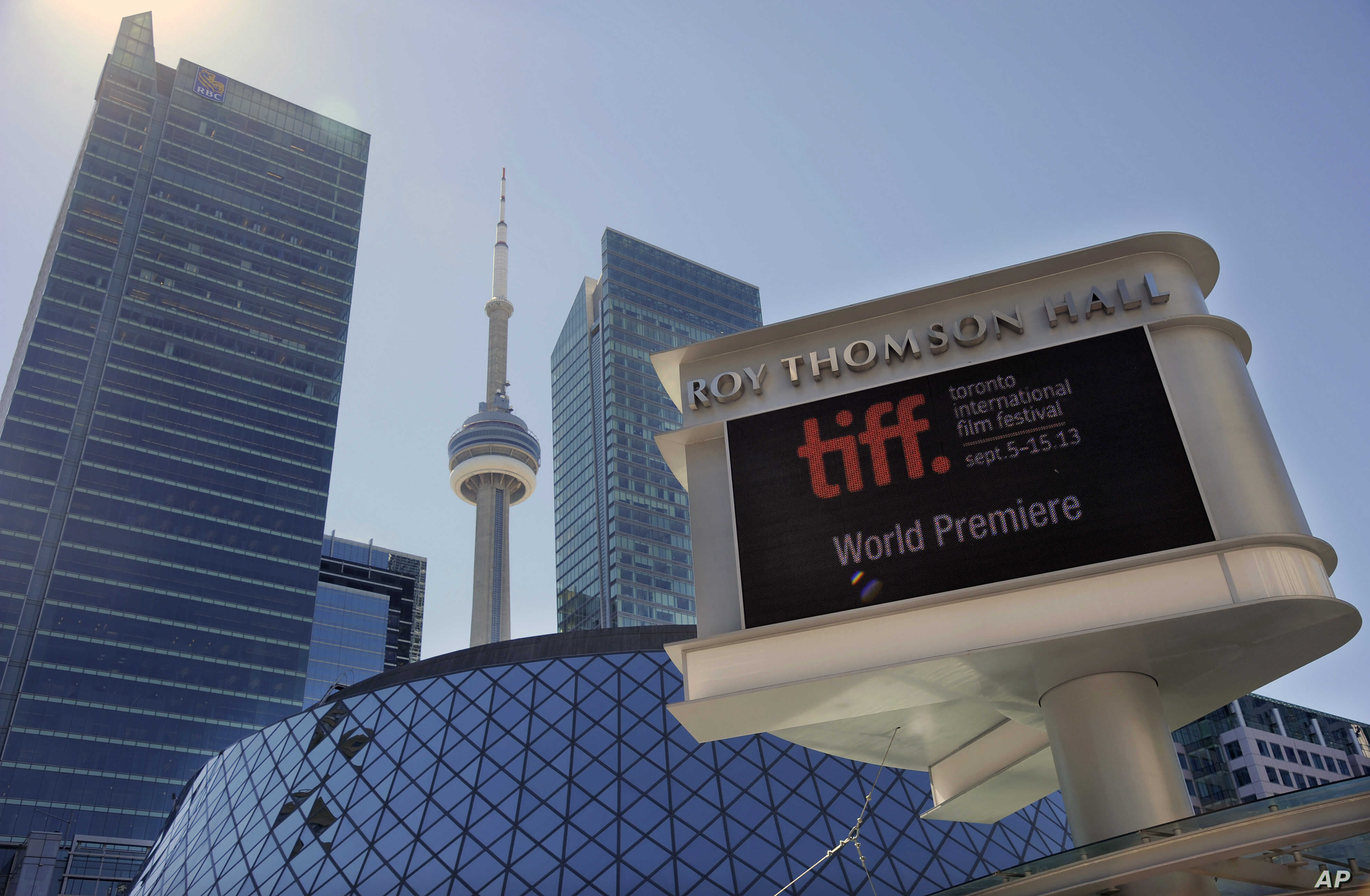 FILE - A view of Roy Thomson Hall venue on the first day of the 2013 Toronto International Film Festival, Sept. 5, 2013, in Toronto.