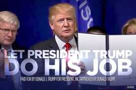 A still from a campaign ad by Donald Trump for President, Inc.