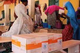 FILE - A handout photo released by the WFP shows women sitting next to WFP-distributed specialized food to combat malnutrition in children at the Pompomari camp in Damaturu on Jan. 26, 2017 during a visit by the WFP executive director.