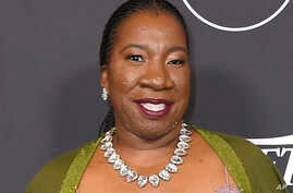 """Tarana Burke arrives at Variety's Power of Women event at the Beverly Wilshire hotel in Beverly Hills, California, Oct. 12, 2018. Burke, an activist who coined the phrase """"Me Too"""" more than a decade before it became a global slogan for survivors of s"""