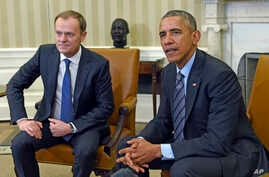 President Barack Obama meets with European Council President Donald Tusk in the Oval Office of the White House, March 9, 2015.