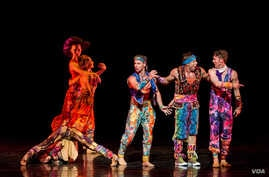 """A photo from the Dallas premiere of """"Yowzie,"""" which is danced to jazz, with funny interactions between couples, and slapstick moves inspired by Twyla Tharp's beloved silent film comedies. (Courtesy of Ruven Afanador)"""