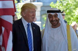 FILE - President Donald Trump welcomes Abu Dhabi's Crown Prince Sheikh Mohammed bin Zayed Al Nahyan to the White House in Washington, May 15, 2017.