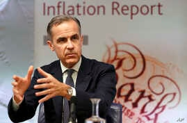 Mark Carney, governor of the Bank of England speaks at a quarterly Inflation Report press conference at the bank in London, Feb. 2, 2017. The Bank of England Thursday revised up its growth forecasts for the British economy for the coming three years