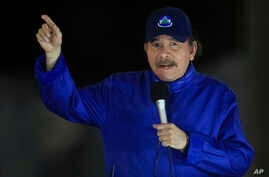Nicaragua's President Daniel Ortega speaks during the inauguration ceremony of a highway overpass in Managua, Nicaragua, March 21, 2019.
