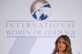 FILE - First lady Melania Trump speaks before presenting the 2017 Secretary's of State's International Women of Courage (IWOC) Awards, Wednesday, March 29, 2017, at the State Department in Washington.