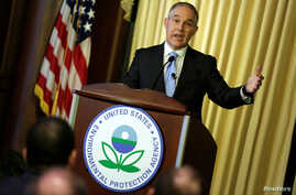Scott Pruitt, administrator of the Environmental Protection Agency (EPA), speaks to employees of the agency in Washington, Feb. 21, 2017.