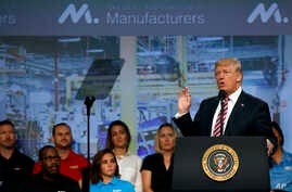 President Donald Trump speaks to the National Association of Manufactures at the Mandarin Oriental hotel, Sept. 29, 2017, in Washington.