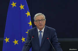 European Commission President Jean-Claude Juncker addresses the European Parliament during a debate on The State of the European Union in Strasbourg, France, Sept. 14, 2016.