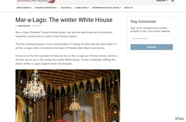 An archived screenshot of a U.S. State Department article about President Donald Trump's Florida estate, Mar-a-Lago.