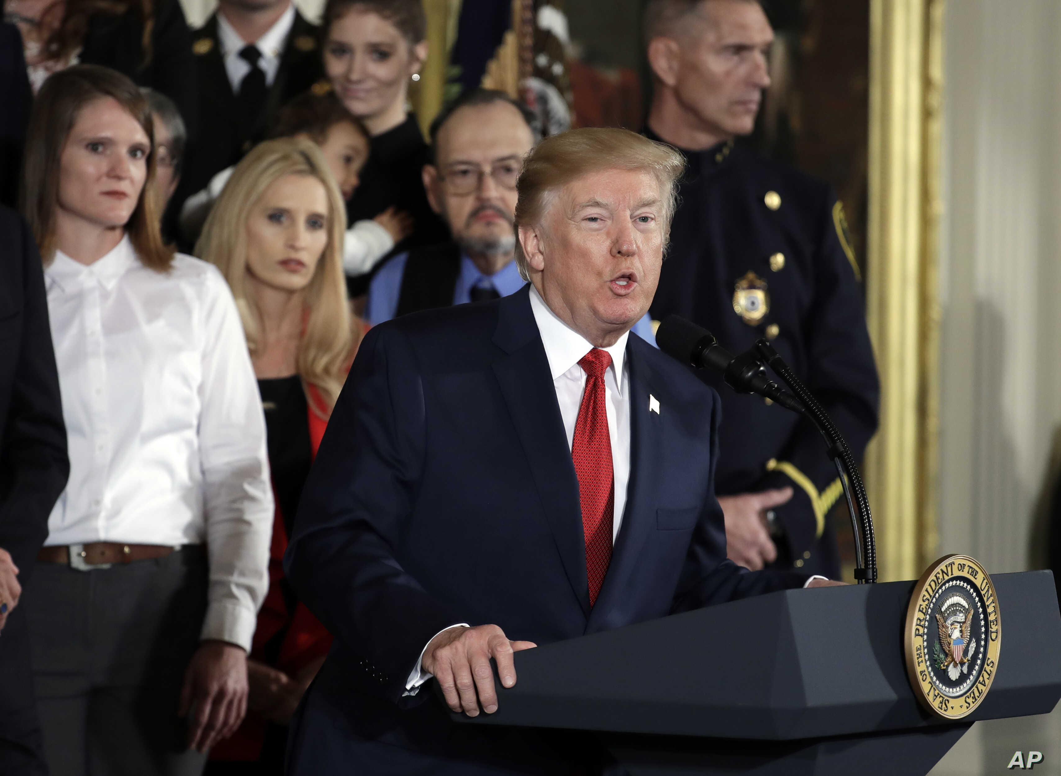 President Donald Trump speaks during an event declaring the opioid crisis in the U.S. a national public health emergency, in the East Room of the White House, Oct. 26, 2017, in Washington.