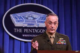 Joint Chiefs Chairman Gen. Joseph Dunford, speaks to reporters about the Niger operation during a briefing at the Pentagon, Oct. 23, 2017.