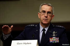 FILE - U.S. Air Force General John Hyten, commander of U.S. Strategic Command, testifies in a Senate Armed Services Committee hearing on Capitol Hill in Washington, April 4, 2017.
