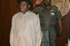 Nigeria's new acting president and commander-in-chief Goodluck Jonathan is pictured as he takes office in Abuja, 10 Feb 2010