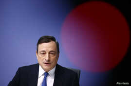 European Central Bank (ECB) President Mario Draghi addresses an ECB news conference in Frankfurt, Jan. 22, 2015.