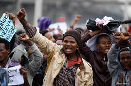 Protesters chant slogans during a demonstration over what they say is unfair distribution of wealth in the country at Meskel Square in Ethiopia's capital Addis Ababa, Aug. 6, 2016.