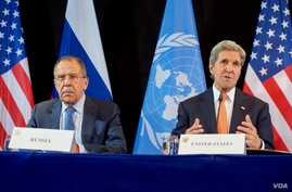 U.S. Secretary of State John Kerry, joined by Russian Foreign Minister Sergey Lavrov, addresses the media on Feb. 12, 2016, at the Hilton Hotel join Munich, Germany, following a meeting of the International Syria Support Group.