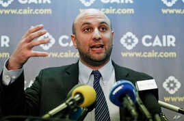 FILE - Attorney Gadeir Abbas speaks during a news conference at the Council on American-Islamic Relations (CAIR) in Washington.