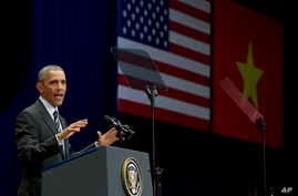 U.S. President Barack Obama speaks at the National Convention Center in Hanoi, Vietnam, Tuesday, May 24, 2016.