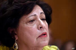 Office of Personnel Management (OPM) Director Katherine Archuleta testifies on Capitol Hill in Washington, June 25, 2015, before the Senate Homeland Security and Governmental Affairs Committee hearing on Federal Cybersecurity and the OPM Data Breach.
