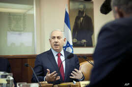 Israeli Prime Minister Benjamin Netanyahu attends a weekly cabinet meeting in Jerusalem, Jan. 17, 2016.
