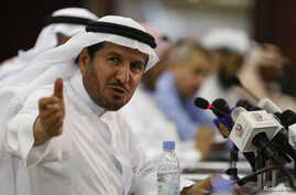 Saudi Health Minister Abdullah al-Rabeeah gestures during a news conference in Riyadh, April 20, 2014.