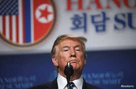 U.S. President Donald Trump holds a news conference after his summit with North Korean leader Kim Jong Un at the JW Marriott hotel in Hanoi, Vietnam, Feb. 28, 2019.