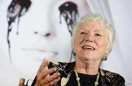 Actress Barbara Tarbuck speaks with fans and news media, Oct. 7, 2013, in Los Angeles.