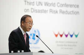 United Nations Secretary-General Ban Ki-Moon delivers a speech during an opening ceremony of the third United Nations World Conference on Disaster Risk Reduction (WCDRR) in Sendai, northern Japan, March 14, 2015.