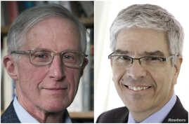 A combination picture shows William D. Nordhaus (L) and Paul Romer, who have won the 2018 Nobel Economics Prize, posing in undated photos provided to Reuters by Yale University and NYU Stern School of Business on Oct. 8, 2018.