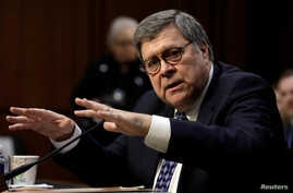 William Barr testifies at a Senate Judiciary Committee hearing on his nomination to be attorney general of the United States on Capitol Hill in Washington, Jan. 15, 2019.