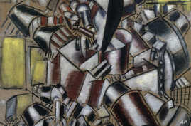 """This undated photo provided by the Metropolitan Museum of Art in New York shows Fernand Léger's 1914 """"Le fumeur (The Smoker),"""" which is one of the paintings in the collection of Leonard Lauder he has donated to the museum."""