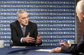 """In this Sunday, Sept. 8, 2013, photo provided by CBS News, White House Chief-of-Staff Denis McDonough speaks during an interview with Bob Schieffer on CBS's """"Face the Nation"""" in Washington."""