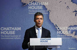 NATO Secretary-General Anders Fogh Rasmussen speaks at Chatham House in London, June 19, 2014.