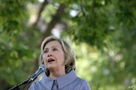 Democratic presidential candidate Hillary Rodham Clinton speaks during a news conference during a visit to the Iowa State Fair, Aug. 15, 2015, in Des Moines, Iowa.