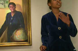 Taylor Marsh, as educator and civil rights leader Mary McLeod Bethune, at the National Portrait Gallery in Washington, D.C.