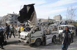 A general view of the destruction after an explosion in central Damascus, Feb. 21, 2013.