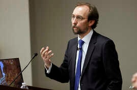 U.N. human rights chief Zeid Ra'ad al-Hussein speaks to Vanderbilt University School of Law students, April 5, 2017, in Nashville, Tennessee.