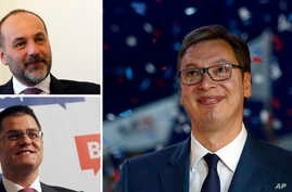 A combo shows two main opposition candidates, Sasa Jankovic, top left, and Vuk Jeremic, down, and current Serbian Prime Minister and presidential candidate Aleksandar Vucic, in Belgrade, Serbia, March, 2017.