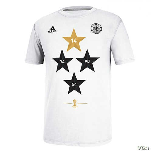 A new soccer shirt by Adidas, bearing four stars for Germany's four World Cup wins, sold out within hours of the team's victory in Brazil. (Courtesy Adidas)