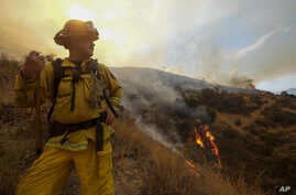 A member with California Department of Forestry and Fire Protection (Cal Fire) battles a brushfire on the hillside in Burbank, Calif., Sept. 2, 2017.