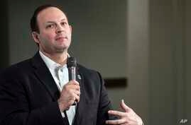 FILE - South Carolina Attorney General Alan Wilson speaks to the crowd at a Conservative Leadership Project presidential forum in Columbia, S.C., Jan. 15, 2016.