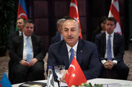 urkish Foreign Minister Mevlut Cavusoglu speaks during a meeting in Istanbul, Oct. 29, 2018.
