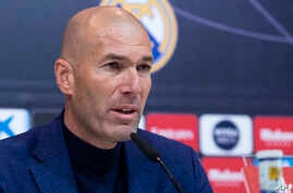 Zinedine Zidane speaks during press conference in Madrid, Spain, May 31, 2018