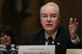 U.S. Rep. Tom Price of Georgia testifies before a Senate Finance Committee confirmation hearing on his nomination to be Health and Human Services secretary on Capitol Hill in Washington, Jan. 24, 2017.